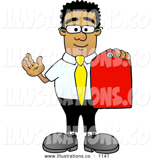 Royalty Free Stock Illustration of a Friendly Black Businessman Mascot Character Holding a Red Sales Price Tag