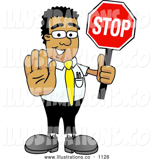 Royalty Free Stock Illustration of a Friendly Black Businessman Mascot Character Holding a Stop Sign
