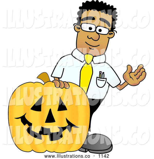Royalty Free Stock Illustration of a Friendly Black Businessman Mascot Character with a Carved Halloween Pumpkin