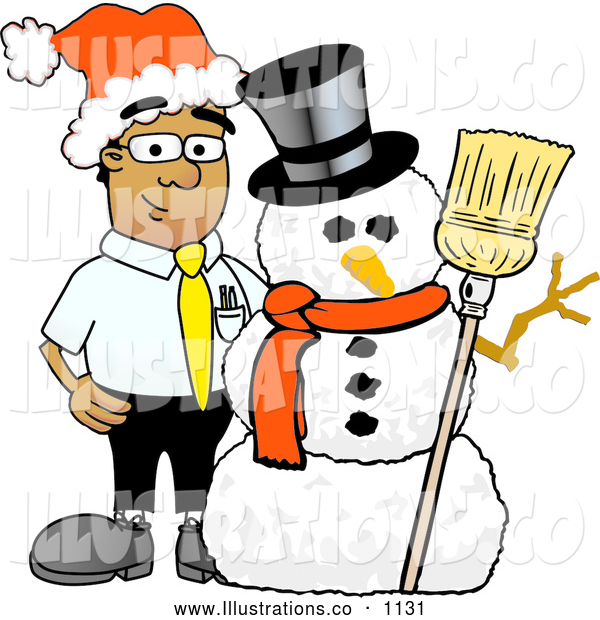 Royalty Free Stock Illustration of a Friendly Black Businessman Mascot Character with a Snowman on Christmas