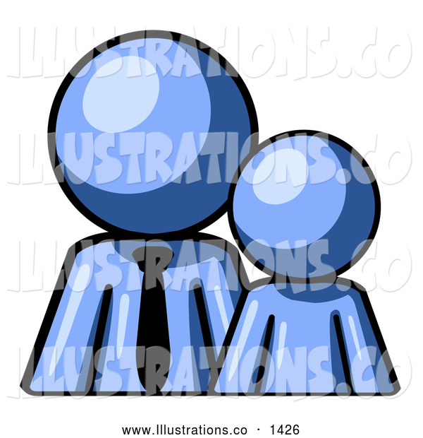 Royalty Free Stock Illustration of a Friendly Blue Child or Employee Standing Beside a Bigger Blue Businessman, Symbolizing Management, Parenting or Mentorship