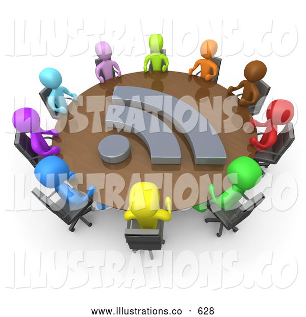 Royalty Free Stock Illustration of a Friendly Diverse Group of Colorful Business People Seated at a Round Conference Table During a Business Meeting in an Office