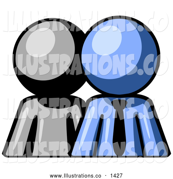 Royalty Free Stock Illustration of a Friendly Gray Person Standing Beside a Blue Businessman, Symbolizing Teamwork or Mentoring