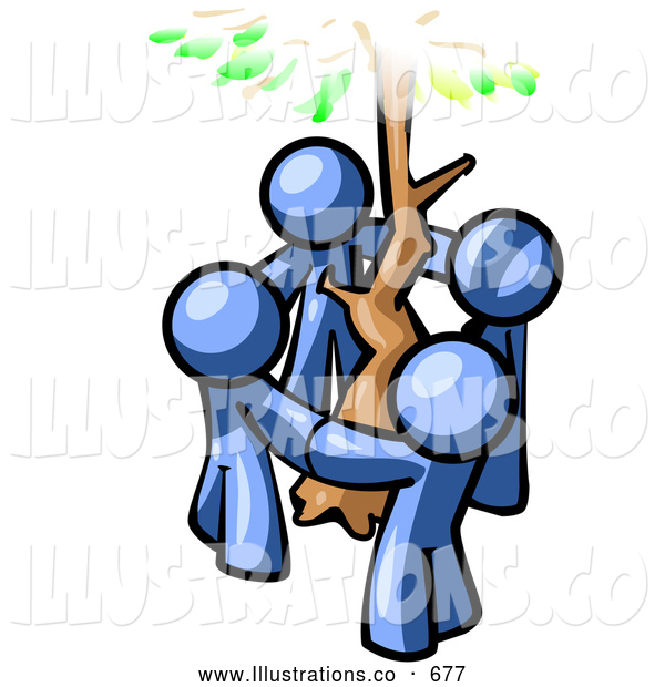 Royalty Free Stock Illustration of a Friendly Group of 4 Blue Man Standing in a Circle Around a Tree