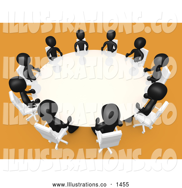 Royalty Free Stock Illustration of a Friendly Group of Black People Seated and Holding a Meeting at a Round White Conference Table in a Room with Yellow or Orange Carpet