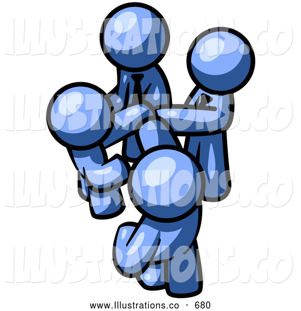 Royalty Free Stock Illustration of a Friendly Group of Blue Businessmen Going in Together on a Deal