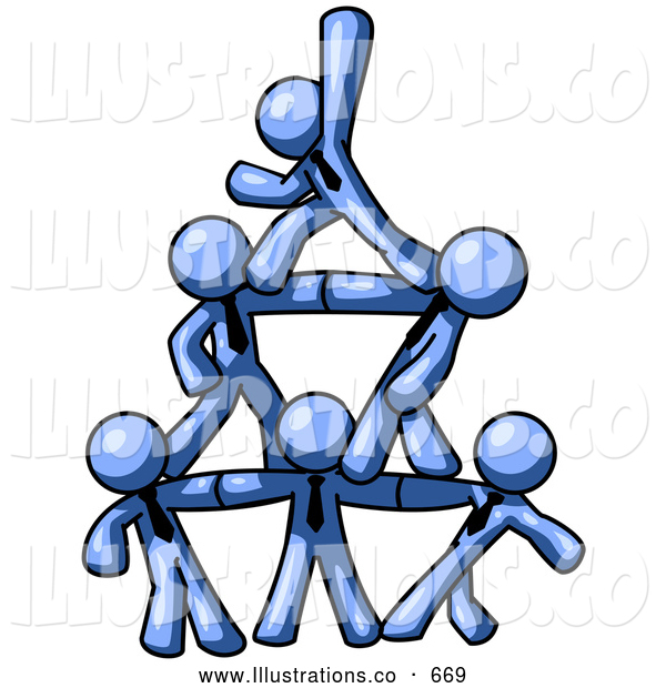 Royalty Free Stock Illustration of a Friendly Group of Blue Businessmen Piling up to Form a Pyramid