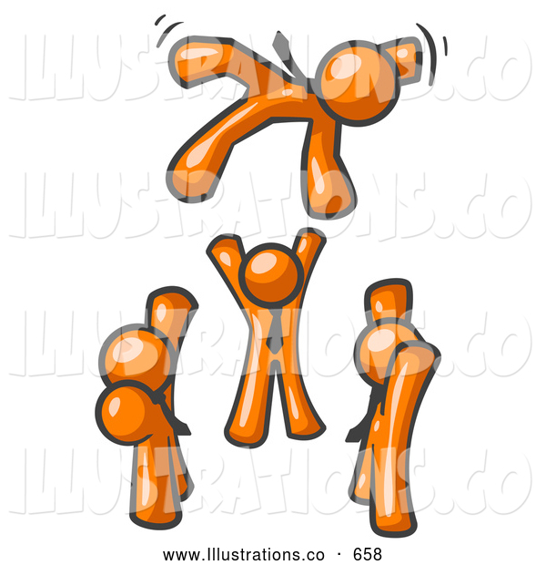 Royalty Free Stock Illustration of a Friendly Group of Orange Men Tossing Another into the Air