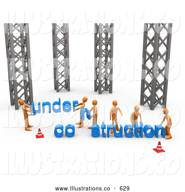 Royalty Free Stock Illustration of a Friendly Group of Orange Men Working Together to Build a New Website That