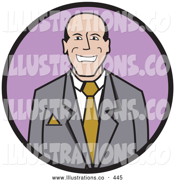 Royalty Free Stock Illustration of a Friendly Happy Businessman Wearing a Suit and Tie