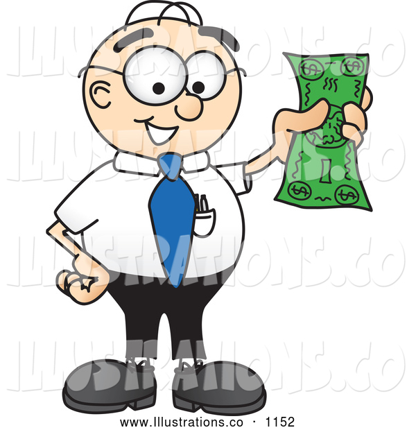 Royalty Free Stock Illustration of a Friendly Male Caucasian Office Nerd Business Man Mascot Character Holding a Dollar Bill