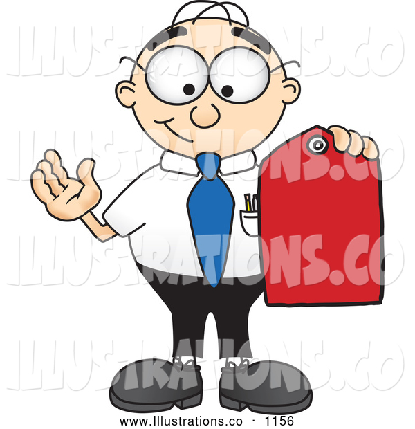 Royalty Free Stock Illustration of a Friendly Male Caucasian Office Nerd Business Man Mascot Character Holding a Red Sales Price Tag