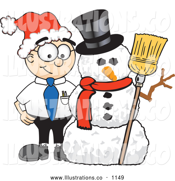 Royalty Free Stock Illustration of a Friendly Male Caucasian Office Nerd Business Man Mascot Character with a Snowman on Christmas
