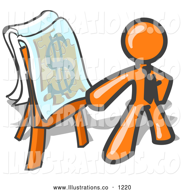 Royalty Free Stock Illustration of a Friendly Orange Business Man Standing by a Dollar Sign Puzzle on a Presentation Board During a Meeting