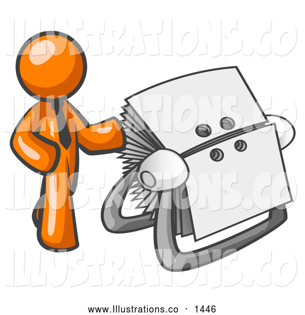 Royalty Free Stock Illustration of a Friendly Orange Businessman Standing Beside a Rotary Card File with Blank Index Cards