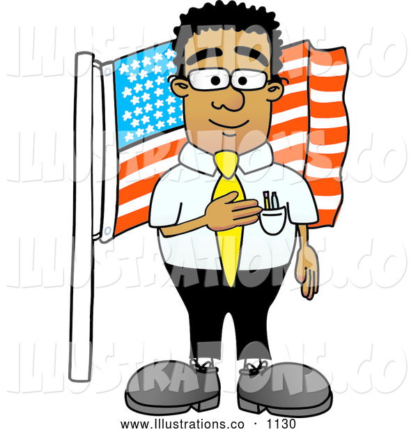 Royalty Free Stock Illustration of a Friendly Patriotic Black Businessman Mascot Character Pledging Allegiance to an American Flag