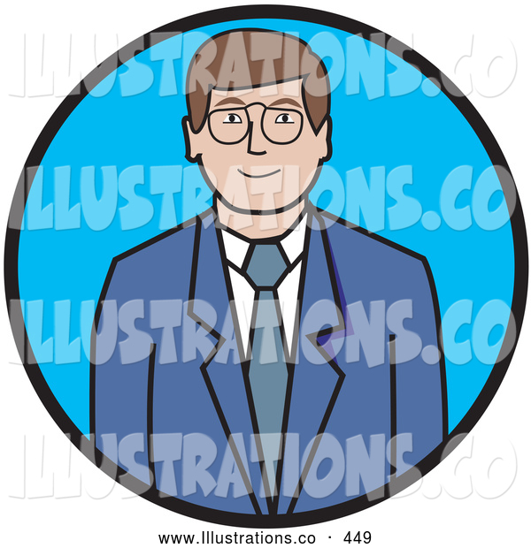Royalty Free Stock Illustration of a Friendly Professional Businessman in a Blue Suit and White Shirt, Wearing Glasses