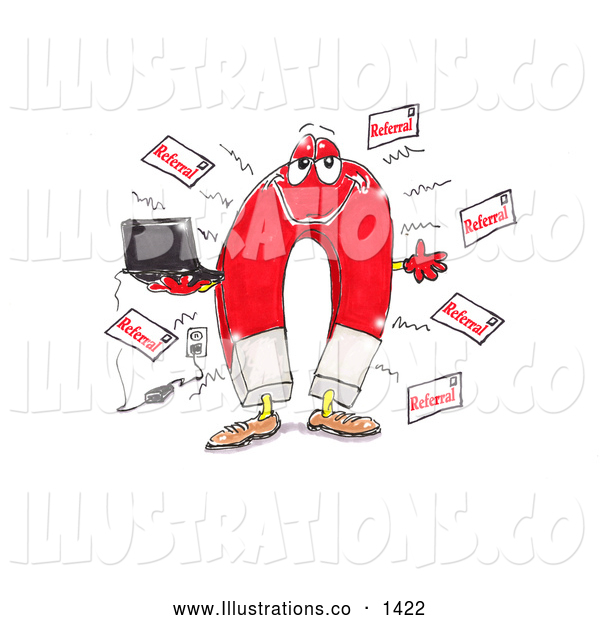 Royalty Free Stock Illustration of a Friendly Red Magnet Holding a Laptop Computer That Is Plugged into an Electrical Socket and Attracting Referrals
