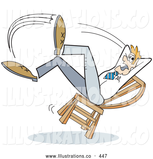 Royalty Free Stock Illustration of a Friendly Surprised Man Falling Backwards After Leaning Too Far Back in a Chair
