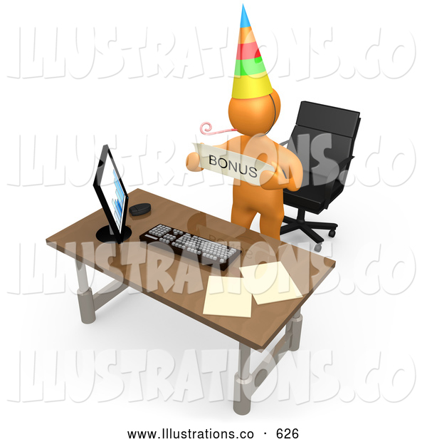 Royalty Free Stock Illustration of a Friendly Well Deserving Orange Figure Employee Wearing a Party Hat and Blowing on a Noise Maker While Standing Behind His Office Desk and Holding a Bonus Sign