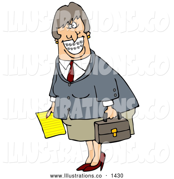 Royalty Free Stock Illustration of a Friendly White Businesswoman with Braces, Smiling and Carrying a Letter and Briefcase