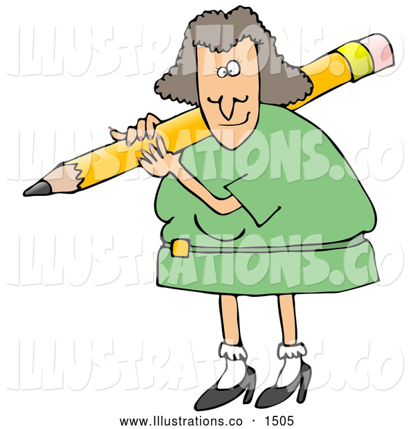 Royalty Free Stock Illustration of a Friendly White Female Teacher in a Green Dress, Carrying a Giant Yellow Pencil on Her Shoulder, Grading Student Papers