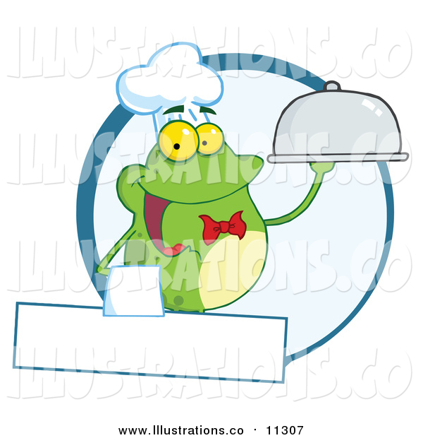 Royalty Free Stock Illustration of a Frog Waiter Holding a Cloche over a Blank Banner