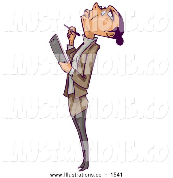 Royalty Free Stock Illustration of a Frustrated, Annoyed Businesswoman Leaning Her Head Back and Rolling Her Eyes at the Ceiling While Inspecting an Office and Reviewing Employees