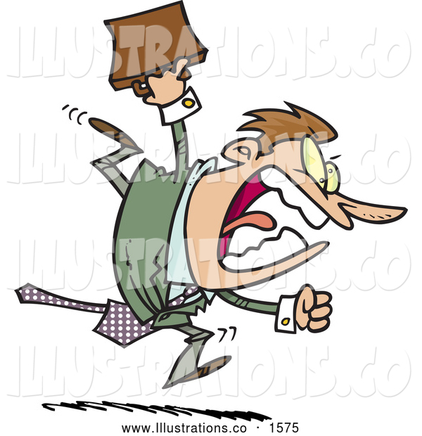 Royalty Free Stock Illustration of a Frustrated Screaming Angry Businessman Running and Charging Forward with a Briefcase