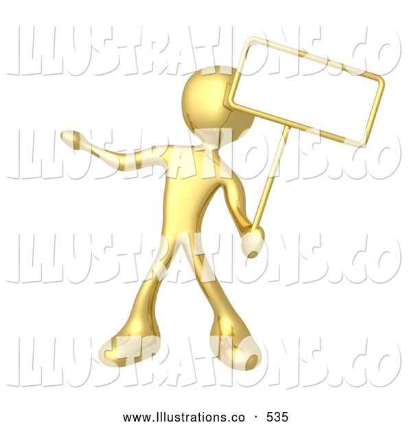 Royalty Free Stock Illustration of a Gold Man Standing and Holding up a Blank Sign for an Advertisement