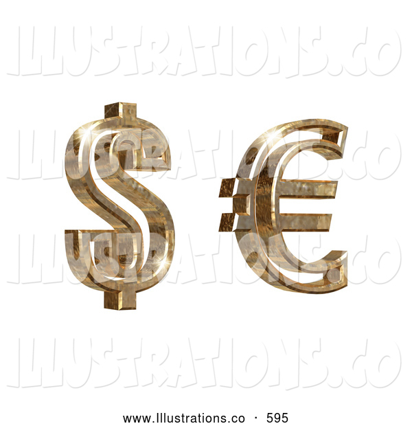 Royalty Free Stock Illustration of a Golden American Dollar Money and Euro Symbols on a White Background