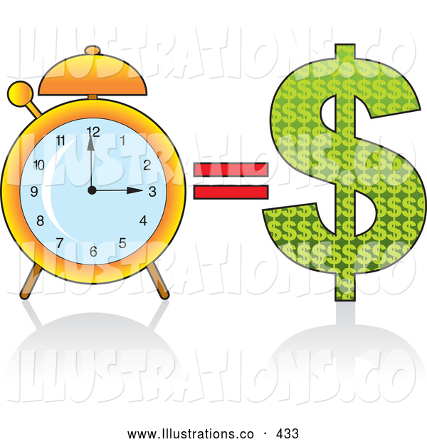 Royalty Free Stock Illustration of a Golden Ring Alarm Clock by a Dollar Sign, Time Equals Money