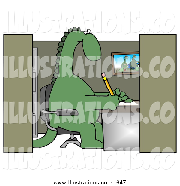Royalty Free Stock Illustration of a Goofy Green Dinosaur Sitting in a Chair at a Desk in an Employee Office Cubicle and Working