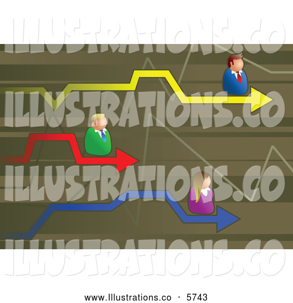 Royalty Free Stock Illustration of a Graph with Competitive Business People
