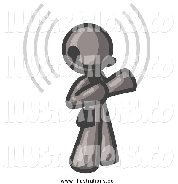 Royalty Free Stock Illustration of a Gray Customer Service Representative with a Headset