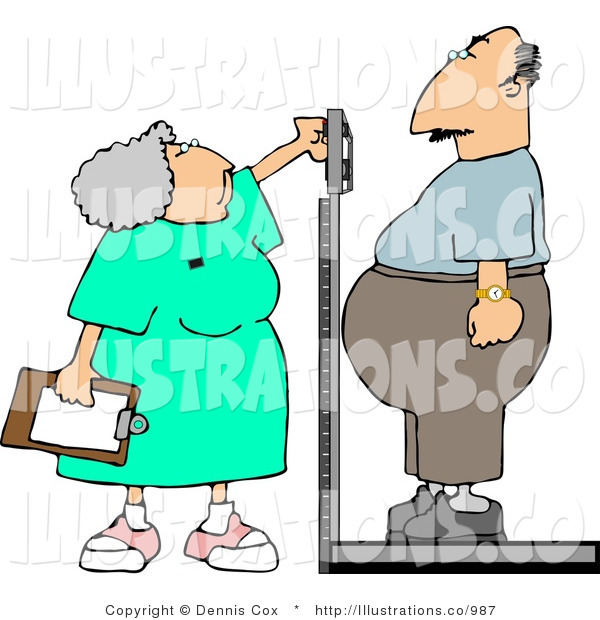 Royalty Free Stock Illustration of a Gray Haired Nurse Weighing Overweight Man on a Scale