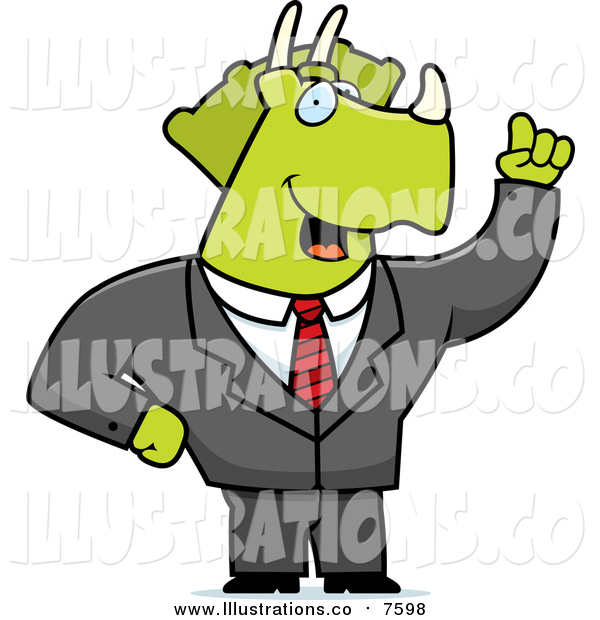 Royalty Free Stock Illustration of a Green Business Triceratops with an Idea