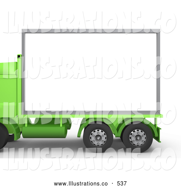 Royalty Free Stock Illustration of a Green Diesel Big Rig Truck with a Blank White Billboard, Ready for an Advertisement on White