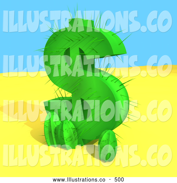 Royalty Free Stock Illustration of a Green Dollar Sign, Growing in the Desert