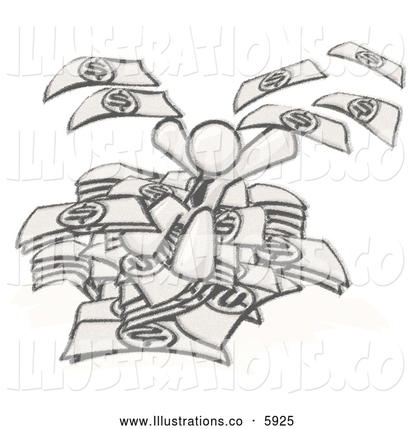 Royalty Free Stock Illustration of a Greyscale Sketched Design Mascot Business Man Jumping in a Pile of Money and Throwing Cash into the Air, Winning the Lottery, Success, or Other Financial Concepts