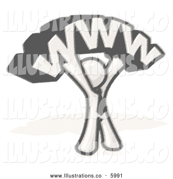 Royalty Free Stock Illustration of a Greyscale Sketched Design Mascot Businessman Holding WWW over His Head