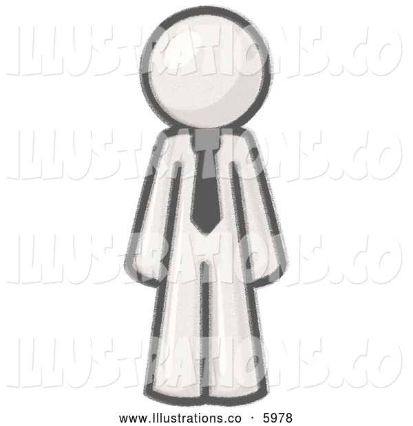 Royalty Free Stock Illustration of a Greyscale Sketched Design Mascot Businessman Wearing a Tie, Standing with His Arms at His Side