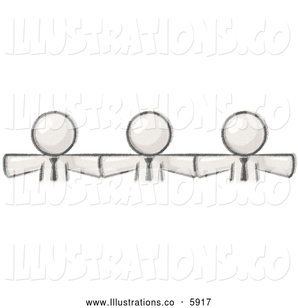 Royalty Free Stock Illustration of a Greyscale Sketched Design Mascot Businessmen Wearing Ties, Standing Arm to Arm, Symbolizing Team Work, Support, Interlinking, Interventions, Etc