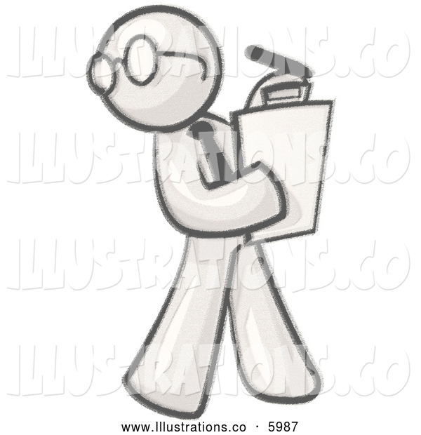 Royalty Free Stock Illustration of a Greyscale Sketched Design Mascot Man Character Wearing Glasses and Holding a Clipboard While Reviewing Employees