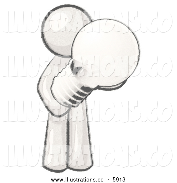 Royalty Free Stock Illustration of a Greyscale Sketched Design Mascot Man Holding a Glass Electric Lightbulb