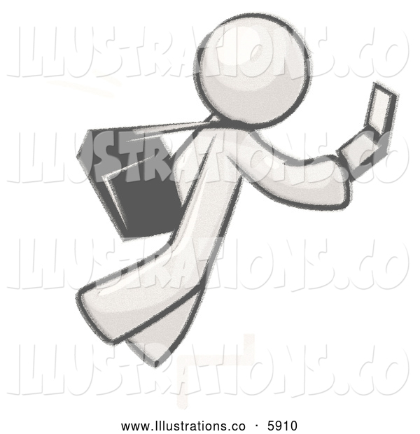Royalty Free Stock Illustration of a Greyscale Sketched Design Mascot Man Tripping on Steps While Texting on a Cell Phone