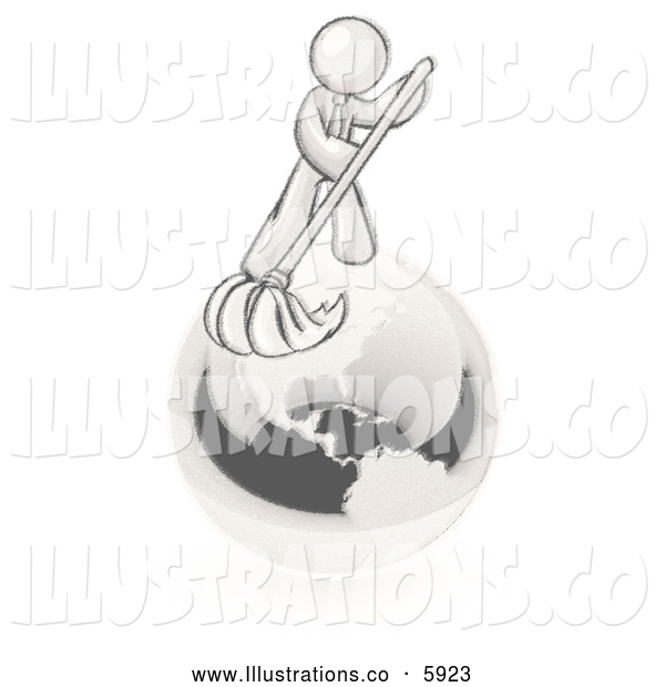 Royalty Free Stock Illustration of a Greyscale Sketched Design Mascot Man Using a Wet Mop with Green Cleaning Products to Clean up the Environment of Planet Earth