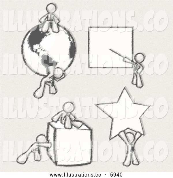 Royalty Free Stock Illustration of a Greyscale Sketched Design Mascot Men Doing Different Things; Sitting on and Carrying a Globe, Pointing at a Board, Pushing and Sitting on a Cube, and Holding up a Star