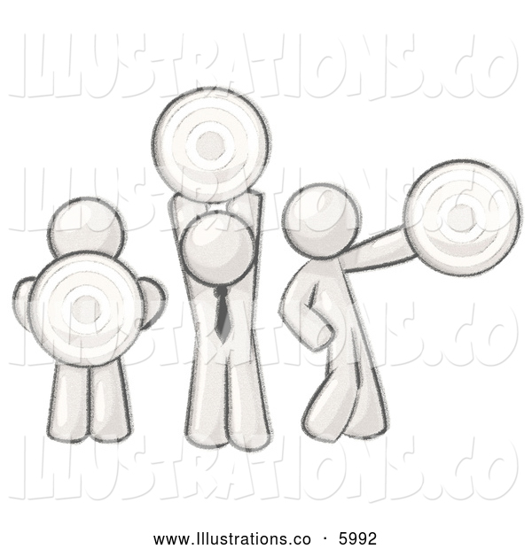 Royalty Free Stock Illustration of a Greyscale Sketched Design Mascot Men Holding Targets in Different Positions