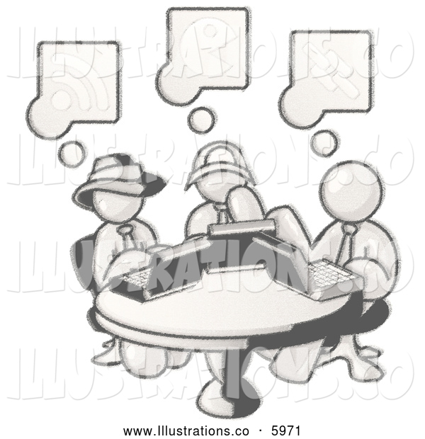 Royalty Free Stock Illustration of a Greyscale Sketched Design Mascot Men Sitting at a Circular Table Using Laptops in an Internet Cafe